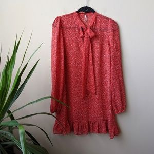 Free People Red Floral Long Sleeve Ruffle Dress XS